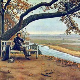 Портрет Пушкина, Тригорское (около Михайловского). Скамья Онегина.