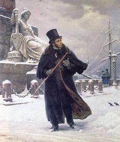 """Портрет Пушкина, худ. Б.В. Щербаков. """"Пушкин в Петербурге"""", 1949 г. Холст, масло. Этот парадный портрет явно не удался, Пушкин в жизни выглядел по-другому. Здесь он приукрашен."""