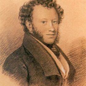 Портрет Пушкина, худ. И.Е.Вивьен, 1826 г. Бумага, итальянский карандаш, белила.