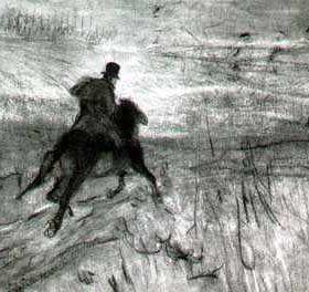 Пушкин на прогулке, худ. В.А. Серов, 1899г.