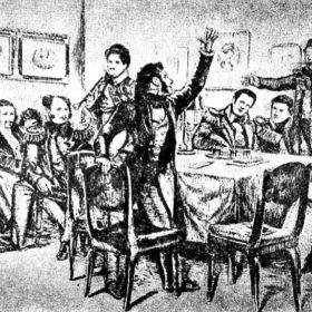 Пушкин среди декабристов в Каменке, худ. Д.Н Кардовский. 1934г.