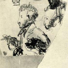 Наброски профиля Пушкина, Н.В. Гоголь, 1837 г. Бумага, чернила, перо, карандаш. На двух набросках профиль поэта, с большим горбатым носом и с усиками, более напоминает самого Гоголя, чем его модель.