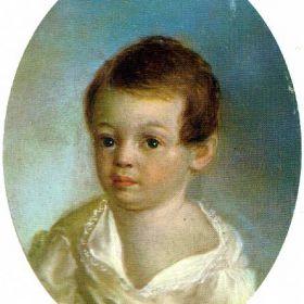 Пушкин - ребенок, худ. Ксавье де Местр, 1801-1802гг. Металлическая овальная пластина, масло. Атрибуция портрета Н.В. Баранской.