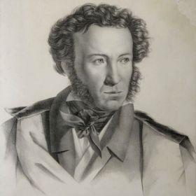 Портрет Пушкина, худ. Г. Гиппиус, 1828 г. Литография.