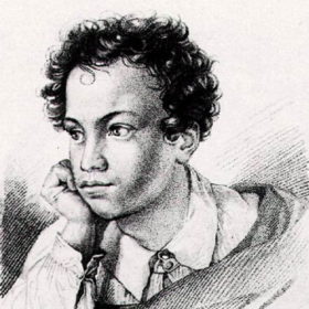 """Первый портрет, опубликован в издании 1822г. """"Кавказский пленник"""" в типографии А.И.Герча. Гравюра на меди."""
